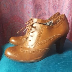 Brown Oxford Lace Up Booties Brogue Heels Shoes 11